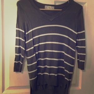 Olive green striped sweater